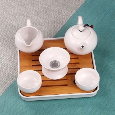 整套家用办公日式粗陶茶具家用功夫茶托小套装一壶两杯过滤杯(颜色可备注)