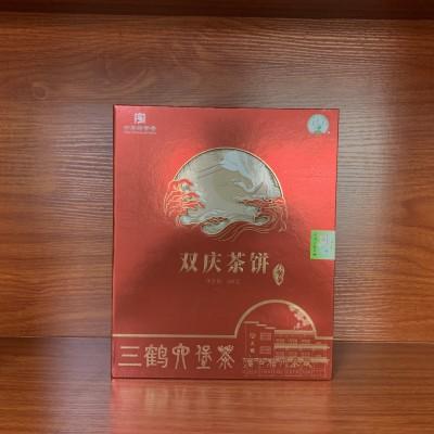 广西梧州茶厂三鹤六堡茶双庆茶饼500克盒显槟榔香