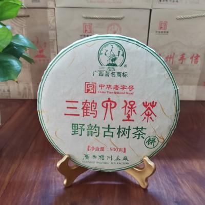 广西梧州茶厂三鹤六堡茶野韵古树茶饼500克  显槟榔香