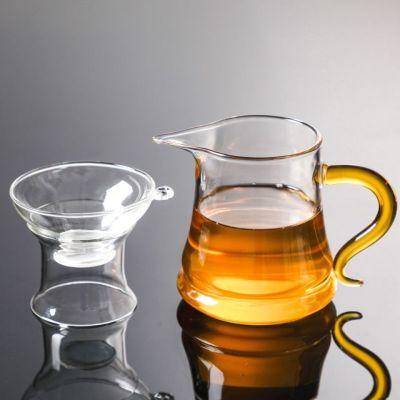 新款加厚月牙公道杯茶漏一体耐热玻璃公道杯绿茶红茶家用杯