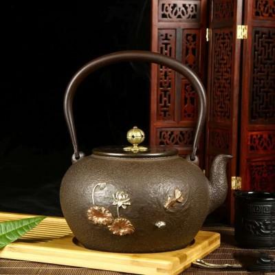 煮茶利器,日本铸铁铁壶,内壁不生锈,容量1200cc