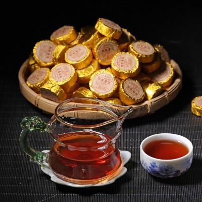 批发 云南普洱茶叶 迷你小沱茶2018年醇香熟茶 糯香原味小金饼