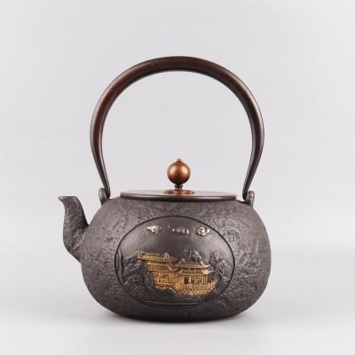 鎏金蜡模手工铸铁壶,容量1,2升,煮茶,烧水利器