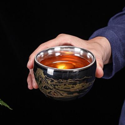 陶瓷主人杯鎏银功夫茶杯茶具品茗杯个人单杯茶盏普洱茶碗茶蛊