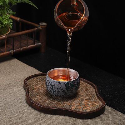 陶瓷功夫茶杯鎏银主人杯单杯大号建盏品茗杯泡茶杯茶盏防烫喝茶碗