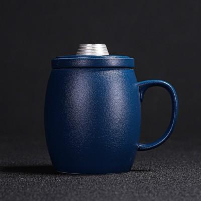 鎏银办公杯带手柄陶瓷定制水杯粗陶带茶漏商务茶水分离泡茶杯定制