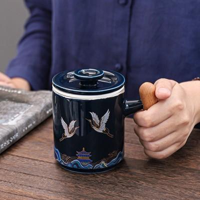纯银陶瓷个人水杯鎏银过滤带盖茶杯茶具办公室泡花茶杯子喝茶水杯