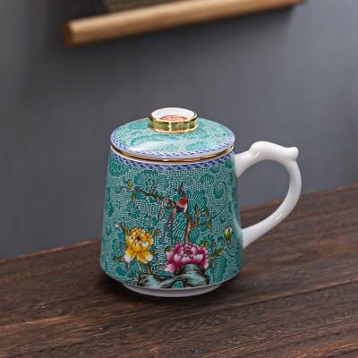 珐琅彩办公杯女带手柄喝茶杯茶水分离泡茶杯子陶瓷家用大容量水杯