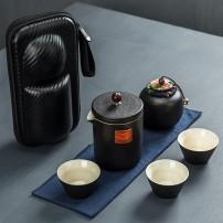 黑陶便携旅行茶具套装一壶三杯一罐快客杯户外功夫泡茶包定制LOGO