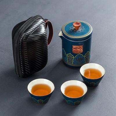 便携式茶具快客杯小套装陶瓷一壶三杯家用办公简约户外泡茶壶茶杯