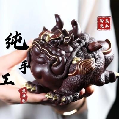 紫砂茶宠摆件可养金蟾茶具茶玩茶桌纯蟾蜍精手工描金茶台茶虫配件