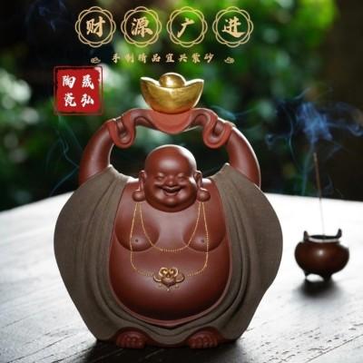 宜兴紫砂茶宠弥勒佛家居摆件可养原矿朱泥粉绿泥茶道财源广进精品