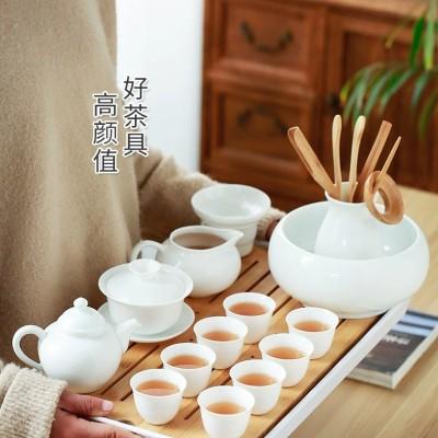 德化白瓷茶具套装 家用简约盖碗茶杯茶壶功夫茶具陶瓷泡茶碗