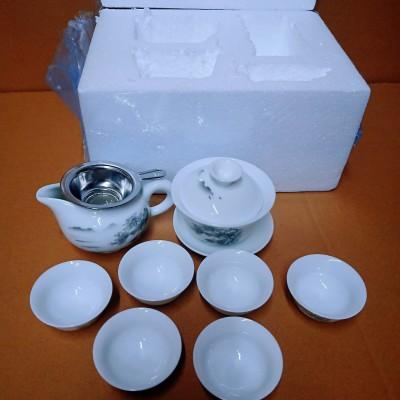 瓷路陶瓷功夫茶具套装青花白瓷茶杯盖碗整套泡茶壶特价家用礼品瓷