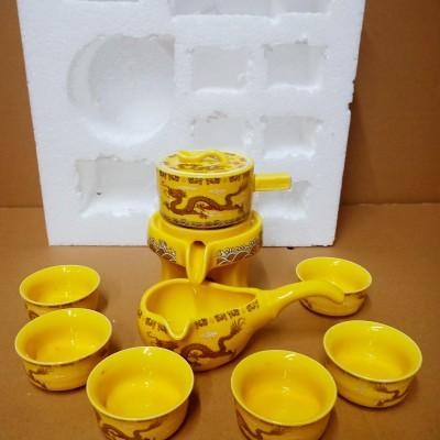 功夫茶具套装家用石磨陶瓷茶壶小茶杯半自动懒人泡茶器