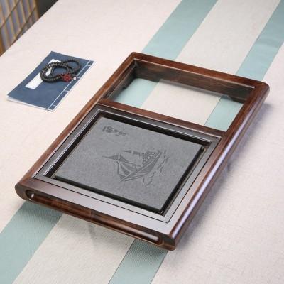 蛰伏 中号大号乌金石茶盘架子 不带电磁炉茶架 实木框架柯木茶盘