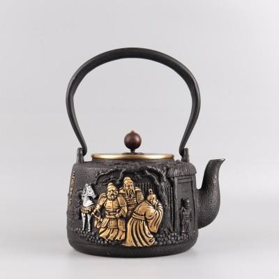 手工蜡模鎏金铁壶尺寸:D16.5×H22容量:1200ml