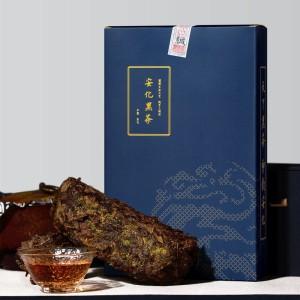 安化黑茶茯砖茶品质级入门黑茶大蓝盒一公斤金花茂盛