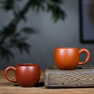 小号紫砂茶杯带把主人杯纯手工朱泥品茗杯功夫茶具杯子宜兴紫砂杯