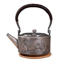 典工堂银壶 纯银足银壶 窗外亭阁银茶壶 烧水壶 纯手工银茶壶茶具