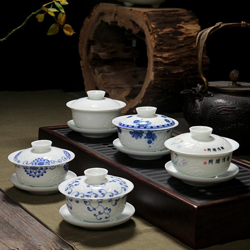浓真高白影雕功夫茶盖碗 陶瓷特色影雕三才碗 特价青花茶碗