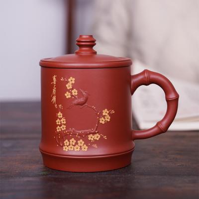 宜兴原矿紫砂盖杯纯手工贴花茶具功夫茶杯