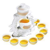 整套玲珑镂空半自动功夫茶具套装盖碗茶艺陶瓷创意茶杯高档礼盒装