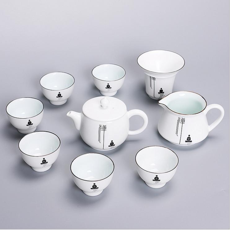 【含礼盒】定窑亚光禅意脂白功夫茶具套装 盖碗茶杯茶壶整套批发