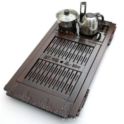 厂家直销黑檀实木茶盘电磁炉四合一茶海茶台功夫茶具套装