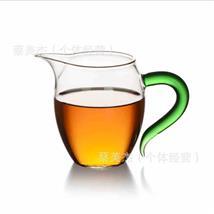 直供耐高温玻璃杯子透明功夫茶具配件大号加厚茶海绿飞把公道杯