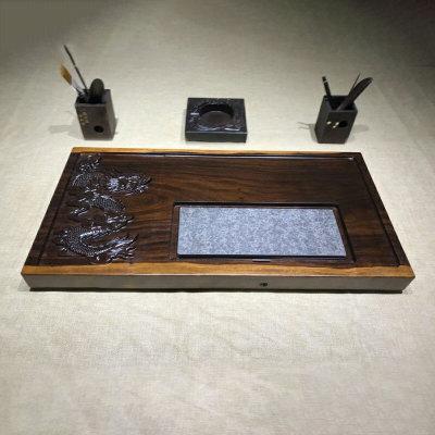 富贵金龙 实木茶盘 70-37-5平雕祥龙