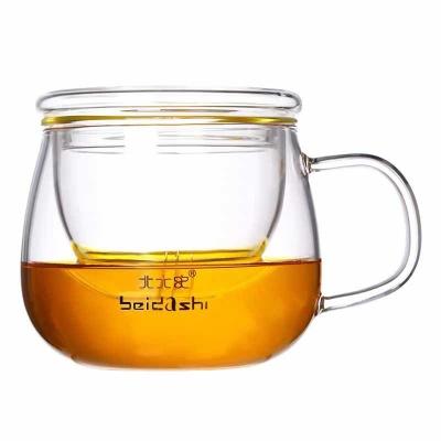 北大史茶水分离泡茶杯口杯水杯子女玻璃杯带把喝水家用有盖办公杯