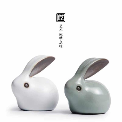 成艺兔子茶宠哥窑可养开片摆件茶道茶玩零配动物小兔一对
