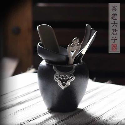 黑陶实木功夫茶具茶道六君子套装茶艺表演组合茶盘摆件配件6件套