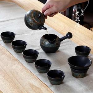 黑陶功夫茶具套装 家用小简约现代中式6人老段烧陶瓷茶杯茶壶整套