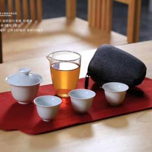 汉陶张生旅行茶具便携包式户外车载公杯功夫套装盖碗茶