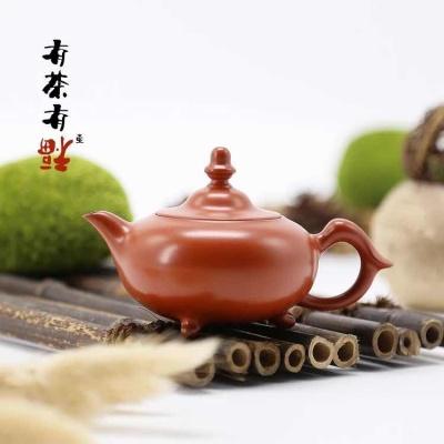 荣记大红袍 潮州手拉壶 池松荣 全手工传统潮州朱泥壶 三足渔翁壶
