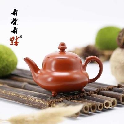 荣记大红袍 潮州手拉壶 池松荣 全手工传统潮州朱泥壶 三足葫芦壶