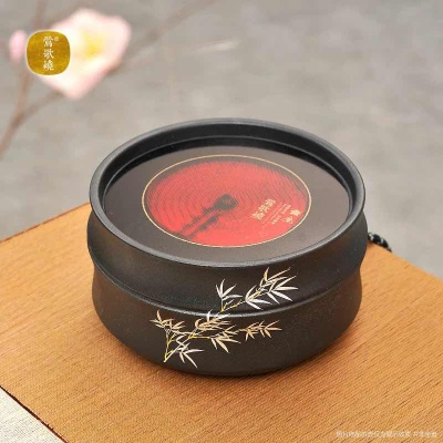 莺歌烧电陶炉煮茶家用茶炉台式小型 铁壶银壶专用泡茶炉 黑色竹节