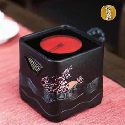 莺歌烧电陶炉 家用煮茶茶炉 小型铁壶银壶泡茶煮茶器 四方日出纹