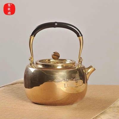 莺歌烧新品煮茶壶316不锈钢烧水壶煮茶器具袋形煮水壶 祥鹤金色