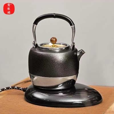 台湾莺歌烧电陶炉 食用级316不锈钢烧水壶 古铜色天目釉电水壶