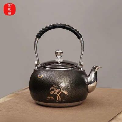 莺歌烧新品煮茶壶 316不锈钢烧水壶煮茶器具 松月圆球形烧水壶
