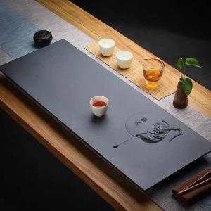 天然乌金石茶盘整块排水茶海石材茶台简约家用现代中式功夫泡茶托
