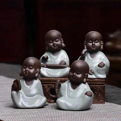 成艺茶宠摆件开片可养琴棋书画可爱小和尚创意茶玩仿哥窑茶道配件