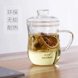 北大史玻璃茶杯带把家用透明过滤耐热办公泡茶花茶杯套装可爱水杯