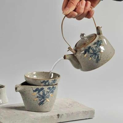新品上市复古陶瓷茶具套装特价促销礼品描金仿古日式特价粗陶