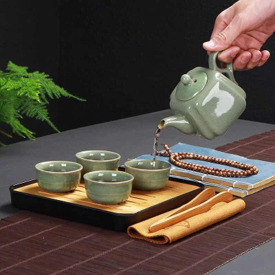 旅行茶具套装(含拖盘)汝窑哥窑功夫陶瓷一壶四杯