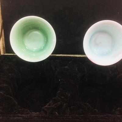 季克强全手工品杯 龙泉青瓷 绞泥 对杯