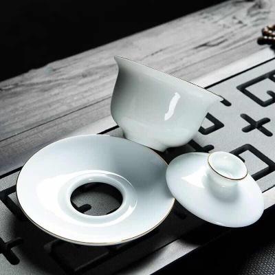 德化白瓷盖碗 功夫茶具套装 高档描金 三才碗茶器 陶瓷茶杯